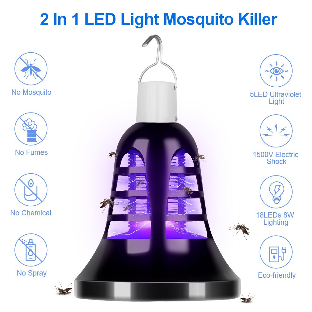 Stenber Bug Zapper LED Electronic Insect Killer, Mosquito Zapper Lamp, 5V USB Power Light Bulb Socket Base,Mosquito Zapper Lamp, Built in Insect Trap for Indoor or Outdoor