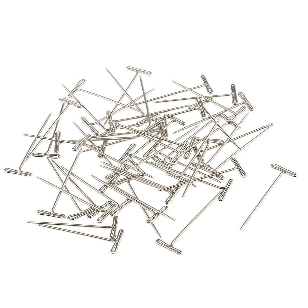 Sharplace Box of 50 Pieces Stainless Steel T-Shape Needles Pins Hair Weaving Tools for Wigs Toupee Fixed 38mm