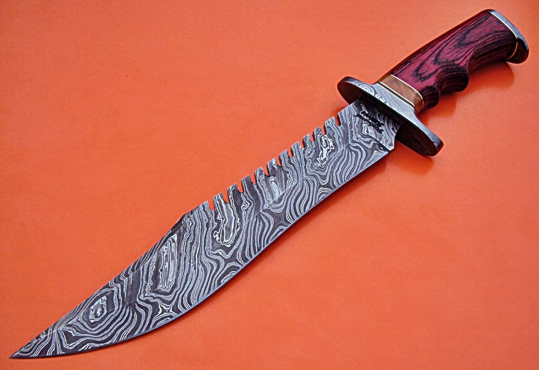 REG-HK-96 Handmade Damascus Steel 15.2 inch Hunting Knife – Stunning Exotic Red Pakka Wood Handle with Damascus Steel Guards