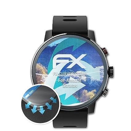 atFoliX Película Protectora para Amazfit Stratos Protector Película - 3 x FX-Curved-Clear