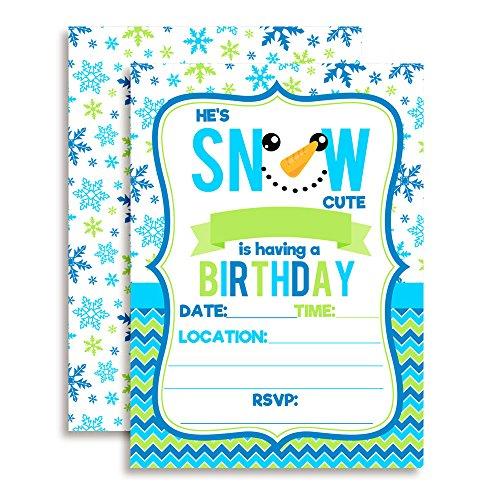 Snow Cute Snowman Face Birthday Party Invitations for Boys, 20 5