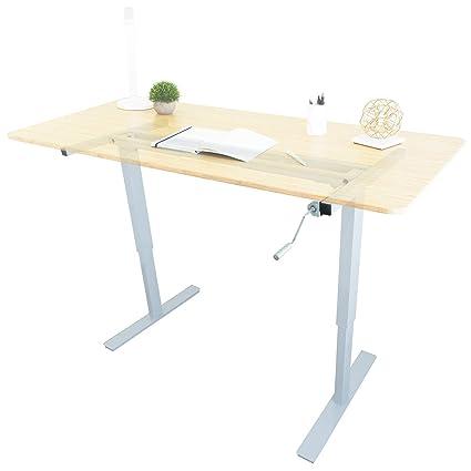 Astonishing Ergo Elements Manual Height Adjustable Stand Up Desk Frame Crank System Ergonomic Standing 2 Leg Workstation White Interior Design Ideas Inamawefileorg