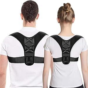 Posture Corrector for Men and Women, Upper Back Brace for Clavicle Support, Adjustable Back Straightener and Providing Pain Relief from Neck, Back & Shoulder (Deep Black)
