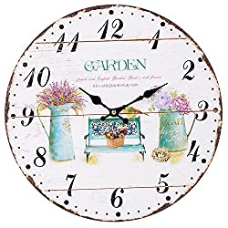 SkyNature Romantic Decorative Wooden Wall Clock French Style Silent Non-Ticking (14 inch Garden)