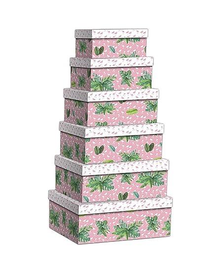 Item Set de Cajas, Diseño Flamenco, Cartón, Rosa, 43.0x33.0x15