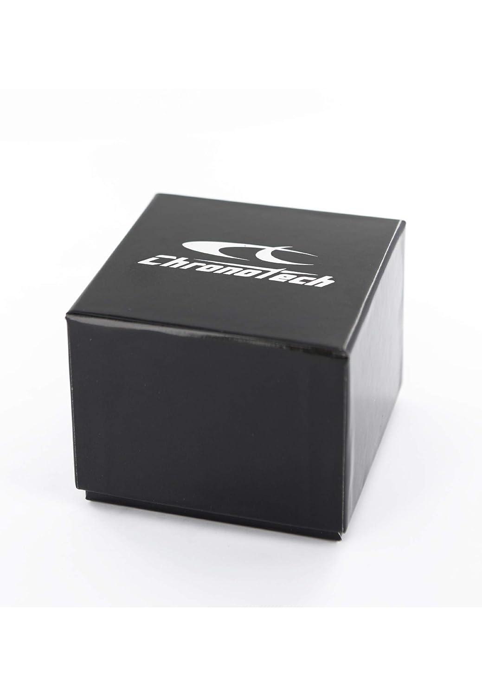 Armbandsur CHRONOTECH för män Prisma med klockarmband av kalvläder, fabrik TIME JUST – 3H QUARZUHR Uhrarmband: Weiss; Zifferblatt: Weiss