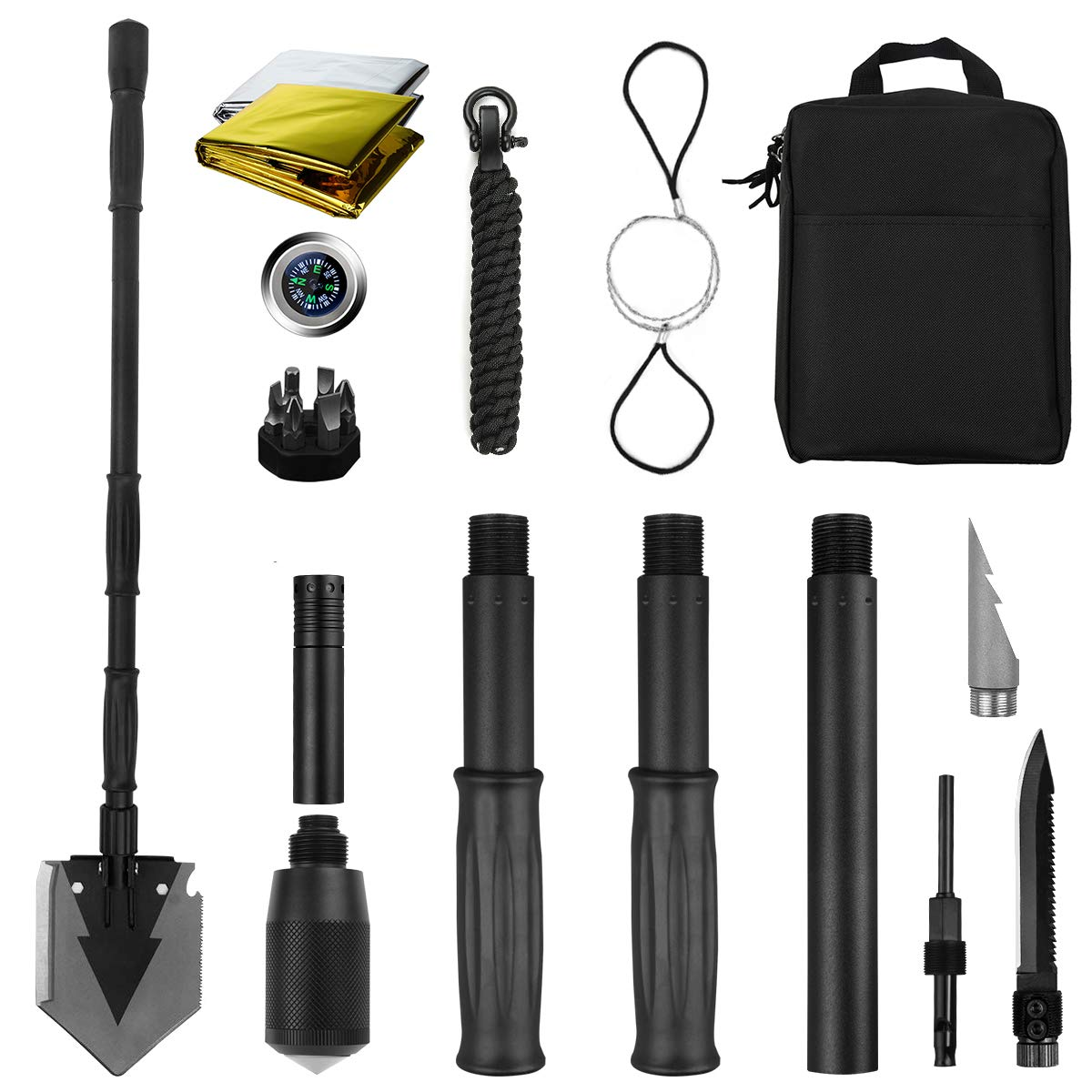 Yeacool Portable Folding Shovel Pickax with Carrying Pouch All-in-1 Military Multitool Tactical Spade for Outdoor Camping Hiking Backpacking Entrenching Garden Tool (38 inch Shovel with Survival Kit)