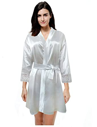 baba7a857e Muse Women s Ladies Robes Sexy Lace Patchwork Silk Solid Robes ...