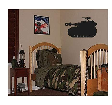 . Dailinming PVC Wall Stickers Big Tank Boys Army Military Bedroom Wall Decor  Decal 94X46CM