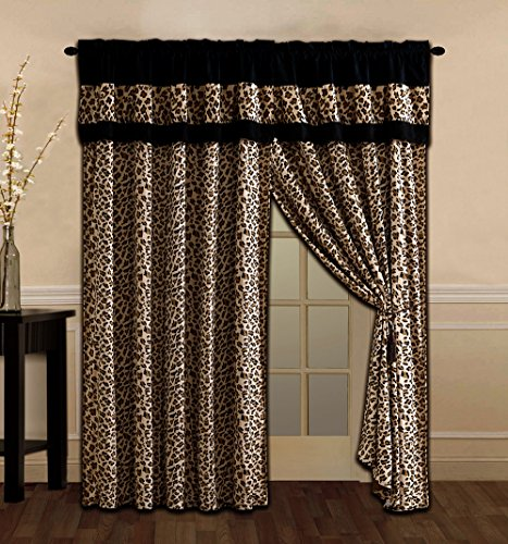 4 Piece Brown / Black Leopard Leopard Print Microfur Curtain set with attached Valance and Sheers