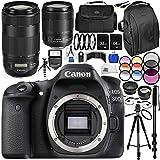 Canon EOS 80D DSLR Camera w/ Canon EF-S 18-135mm f/3.5-5.6 IS USM Lens, Canon EF 70-300mm f/4-5.6 IS II USM Lens 25PC Accessory Kit - International Version (No Warranty)