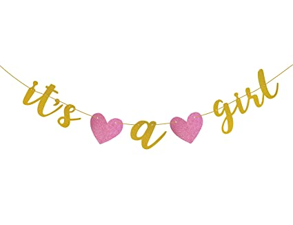amazon com famoby gold glittery it s a girl banner for baby shower
