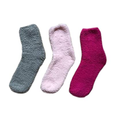 3 Pairs Women's Fuzzy Socks, Cute Warm Fluffy Winter Slipper Socks – Christmas Gifts - One Size (Pink, Grey & Hot Pink) (hot pink, pink, grey) at Women's Clothing store