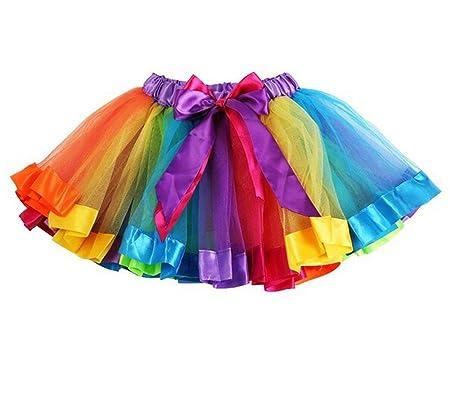 HaimoBurg Mädchen Kinder Regenbogen Tüllrock Tütü Tutu Ballettrock Tanzkleid Ballettkleid Ballettröckchen Rock Clubwear (2-5