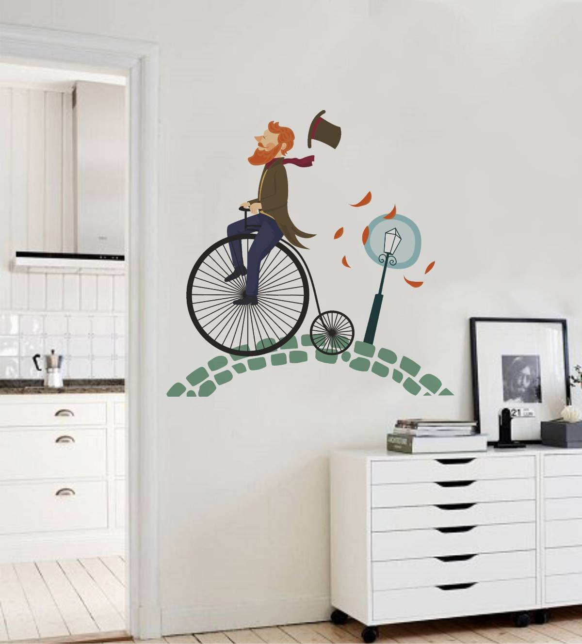 Buy rawpockets beard man on big cycle wall sticker pvc vinyl 100 cm x 100cm online at low prices in india amazon in