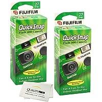 Fujifilm QuickSnap Flash 400 Disposable 35mm Camera + Quality Photo Microfiber Cloth (2 Pack)