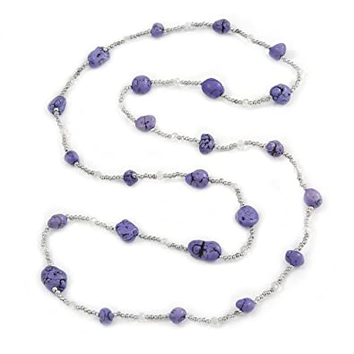 Avalaya Long Purple Stone and Silver Tone Acrylic Bead Necklace - 118cm L E2ZDuTbFM