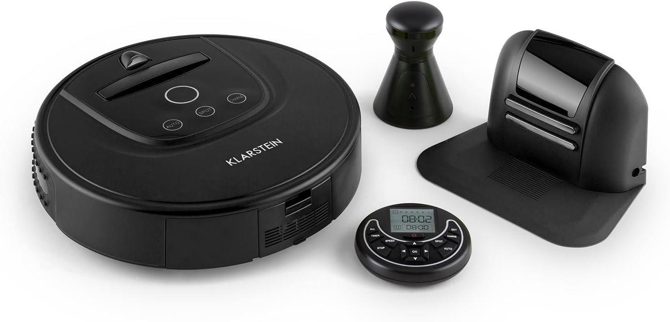 Klarstein Cleanhero - Robot aspirador automático con mando a distancia, negro negro: Amazon.es: Hogar