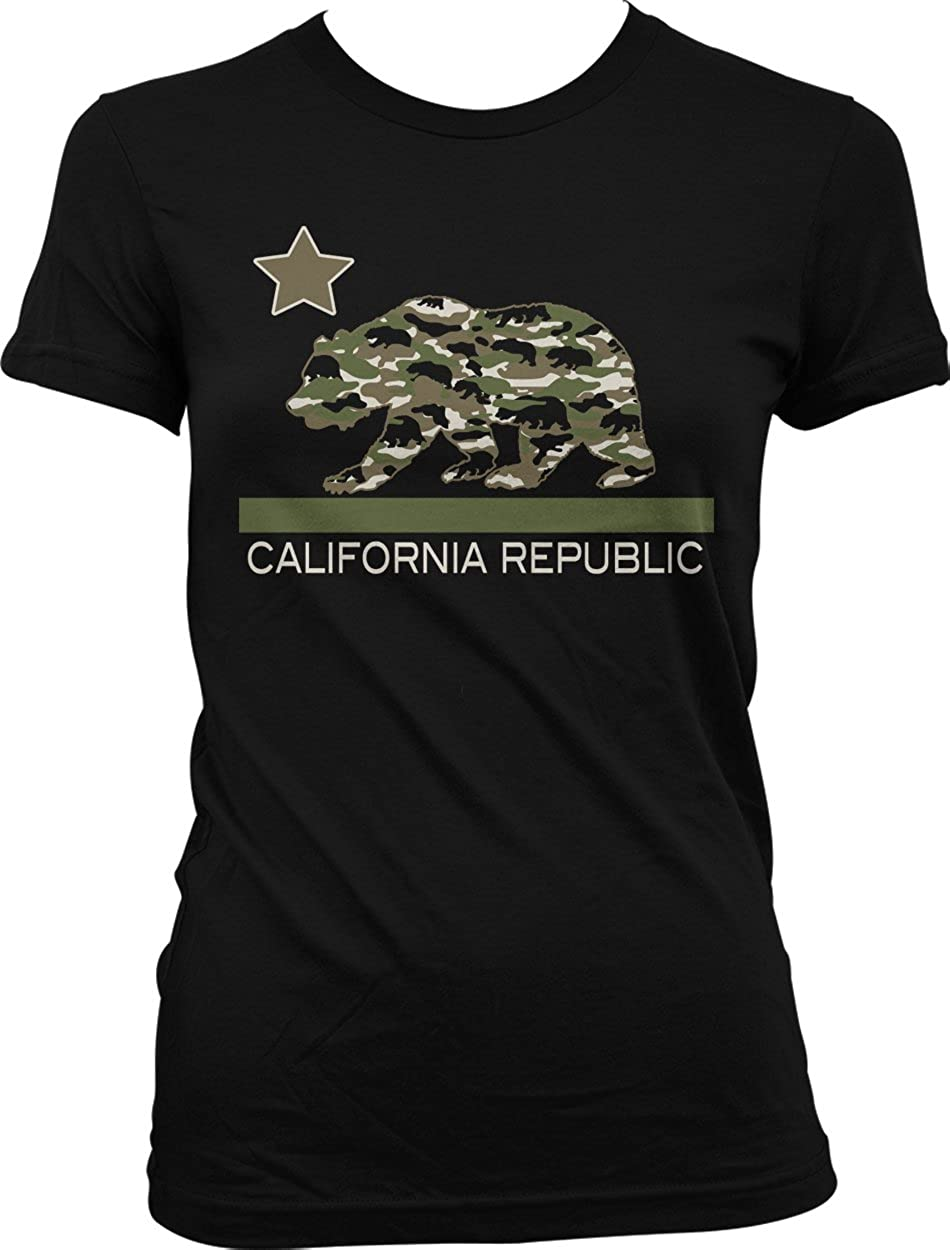 NOFO Clothing Co Camouflage California Flag, Camo Cali Bear Juniors T-Shirt
