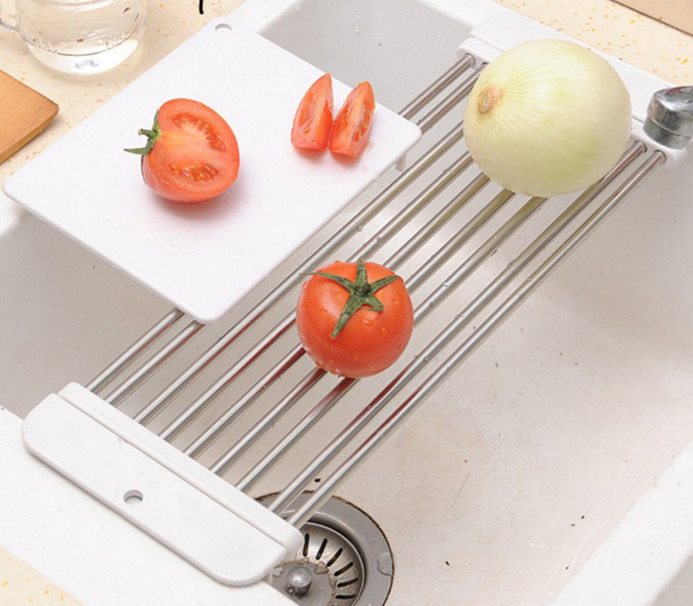 Skyseen Stretchable Sink Drying Rack With Gift Cutting Board,White