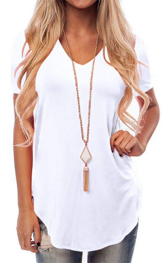 KAY SINN Womens Causal Tops Short Sleeve Tunic V Neck Blouse Shirts X-Large White