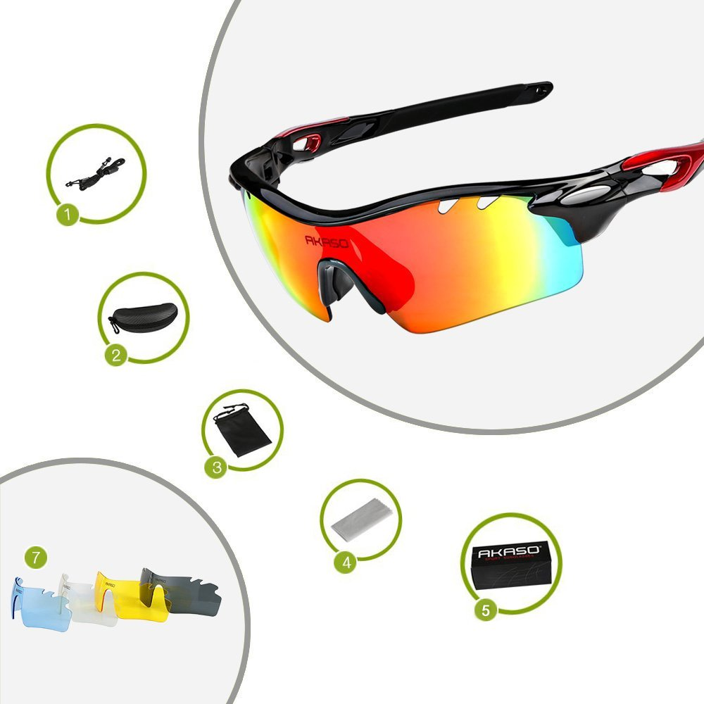 AKASO Polarized Sports Sunglasses, 5 Interchangeable Lenses, TR-90 Frame, UV Protective, for Fishing, Running, Cycling, Driving, Unisex for both Men and Women