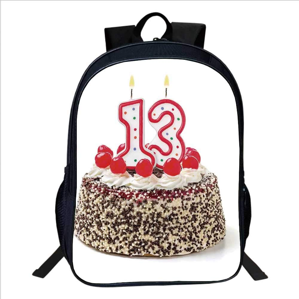 13th Birthday Decorations Multifunctional School Bag,Cake with Numeral Candles and Cherries Yummy Desert For Party for School Travel,11''L×6''W×15''H