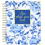 2019-2020 Planner - Academic Weekly & Monthly Planner, Thick Paper with Colorful Tabs - 9.3' x 8.25', Twin-Wire Binding with 19 Notes Pages + Two-Sided Inner Pocket + Gift Box, Blue Floral