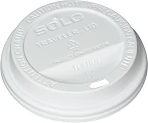 SOLO Cup White Traveler Drink-Thru Lid. Fits 10 Ounce Squat and 12, 16, 20 and 24 Ounce Solo Brand Hot Beverage Cups. 100 Pack