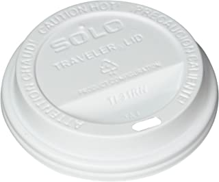 product image for SOLO Cup White Traveler Drink-Thru Lid. Fits 10 Ounce Squat and 12, 16, 20 and 24 Ounce Solo Brand Hot Beverage Cups. 100 Pack