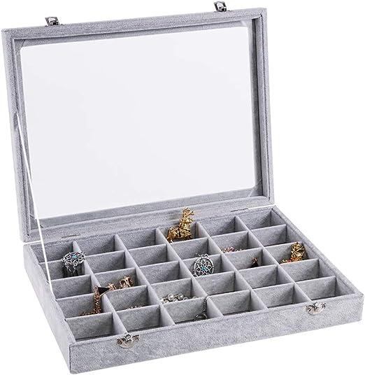 Comtervi Joyero 24 Compartimentos Caja de Joyas con Tapa de ...