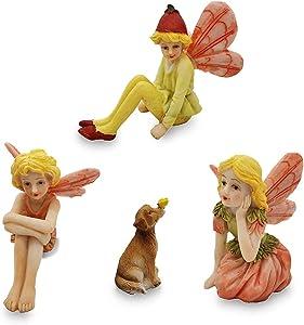 Fairy Garden Fairies Accessories Miniature Fairies Figurines with Dog Fairy Figurines for Miniature Garden Fairies for Fairy Garden Boy Fairies