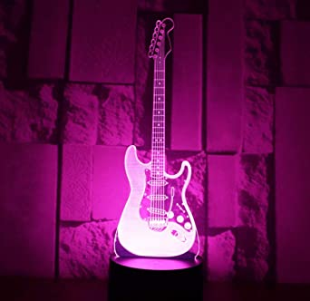 3D LED luz nocturna guitarra eléctrica con 7 colores de luz para la decoración del hogar