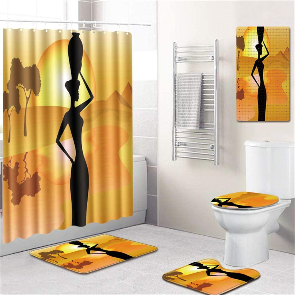 African Women Bathroom Rug Set Shower Curtain Non Slip Toilet Lid Cover Bath Mat