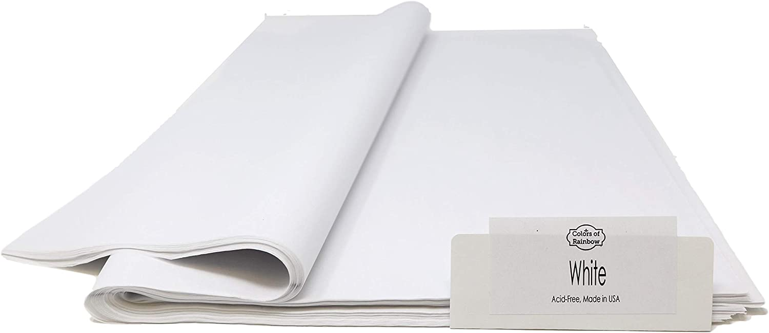 Colors Of Rainbow White Acid-free Tissue Paper for Long-term Storage, 96 Sheets, 15 Inch x 20 Inch