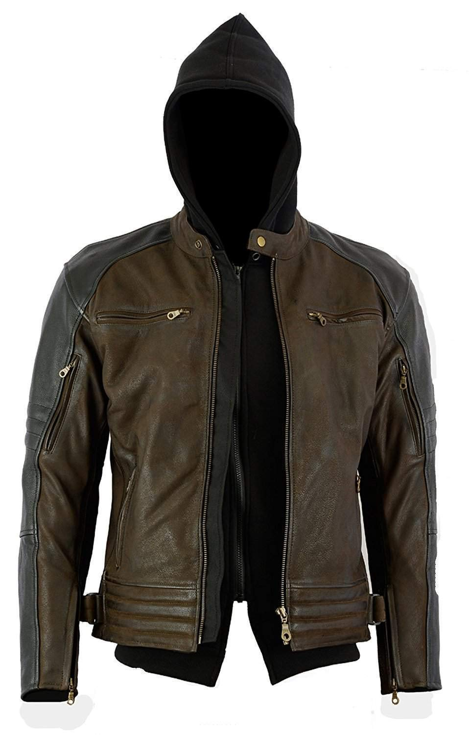 CE 1621-1 Removable 5 Piece Armour Size XL Bikers Gear Australia New Craig Waxed Nubuck Premium Leather with Removable Hoodie Motorcycle Jacket Charcoal Black