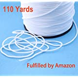 Femdela Elastic String for Masks - Premium 1/8 Inch X 110 Yards White Braided Elastic Bands for Sewing - Strong Thin Round Heavy Stretch Material Band Strap - Comfortable Elastic Mask Strip Cord