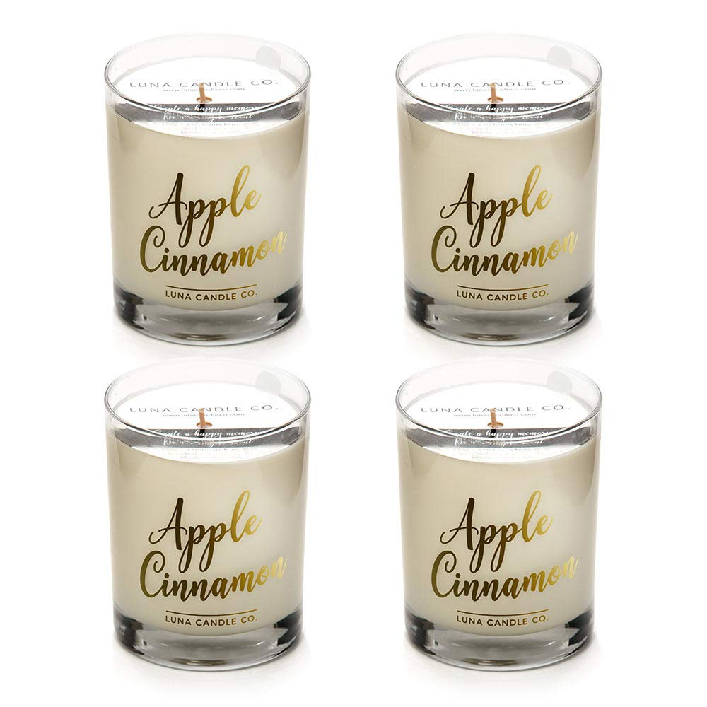 LUNA CANDLE CO. Strong Scented Apple Cinnamon Jar Candle, Soy Wax, Luxurious 11oz. Glass, up to 110 Hours of Burn Time, Nutmeg and Vanilla, Fall Gift Idea, Aromatherapy (4 Pack)