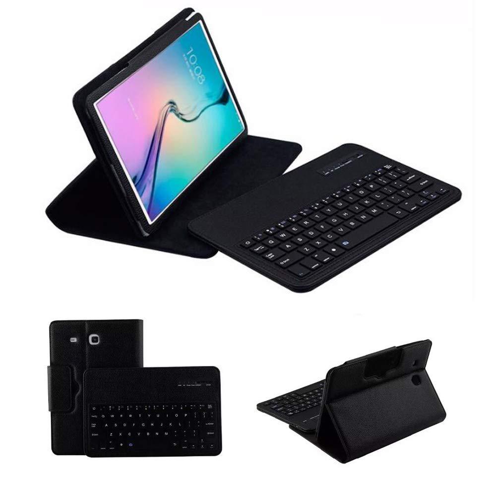 Samsung Galaxy Tab E 9.6キーボードレザーケース、フォリオPUケースワイヤレスBluetooth内蔵スタンド取り外し可能キーボードケースカバー自動スリープ/ウェイク機能付き Tab E 9.6インチSM-T560、T561、T567用 ブラック T560  ブラック B07NVD7W8J