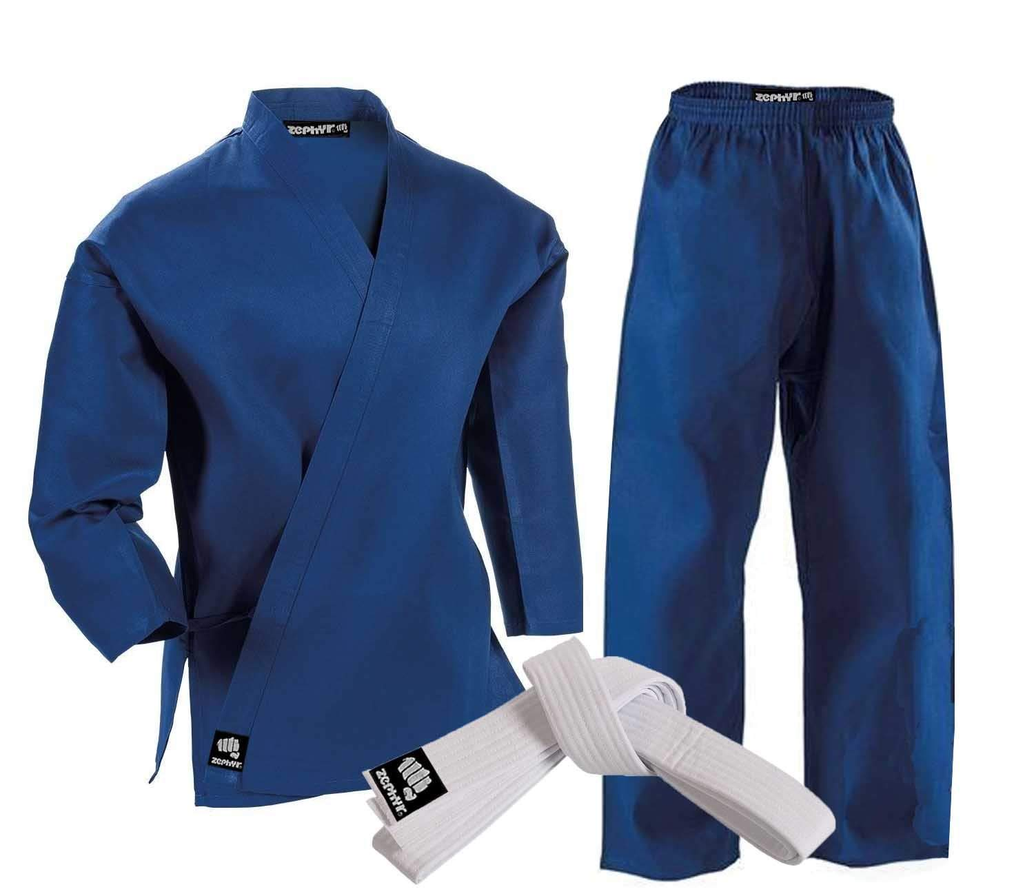 Zephyr Martial Arts Karate Gi Student Uniform with Belt - Blue - 1 by Zephyr Tactical