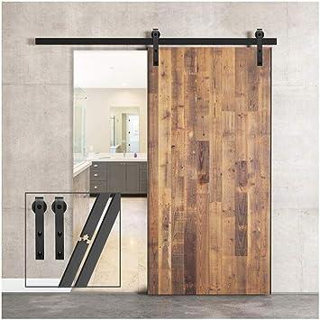 Herraje para Puertas Corredizas Interiores,puerta doble 213cm//7FT Kit puerta granero herraje corredera,Puerta de Granero Corredera de Madera