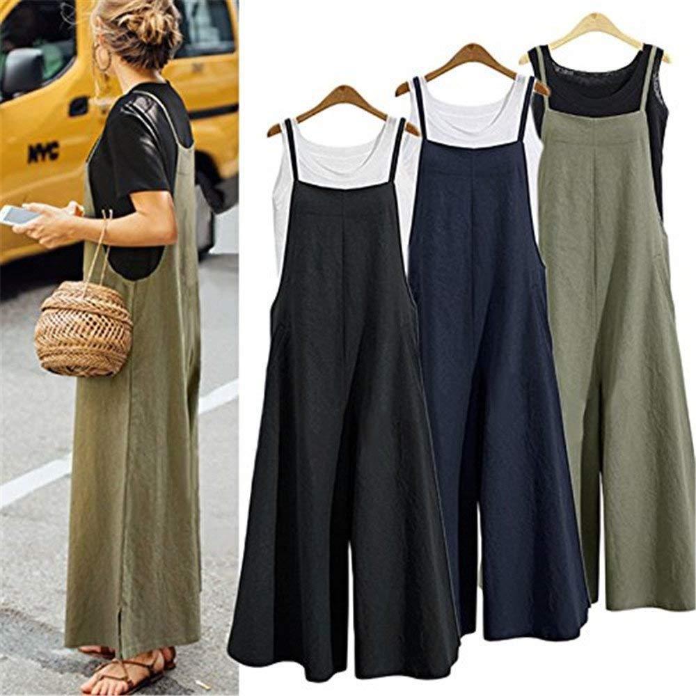 8df651faac49 Amazon.com  Aedvoouer Women s Baggy Plus Size Overalls Cotton Linen Jumpsuits  Wide Leg Harem Pants Casual Rompers  Clothing