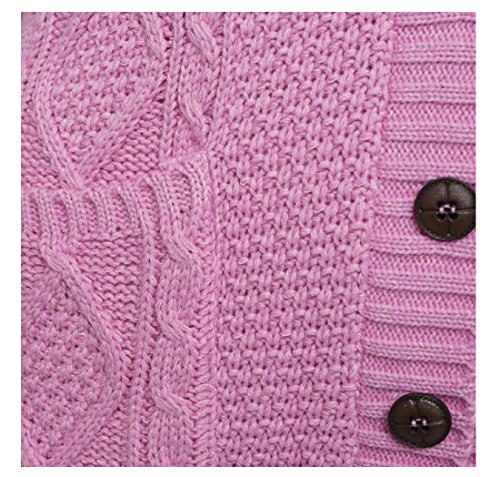 54 Poche Grandad Gilet Pink Cable Bouton Fashions Sleeveless Tricot Ladies EU Womens 44 Cardigan Islander AqwOW8xIR