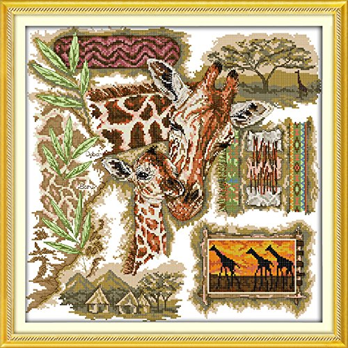 Cross Stitch Embroidery Starter Kit including 11ct classic reserve Aida colored threads and tools African Giraffe (No Frame)