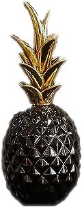 APAN Sculptures,Nordic Ins Golden Pineapple Ceramic Statue Model Creative Simplicity Desktop Home Decoration Wedding Gift,Black