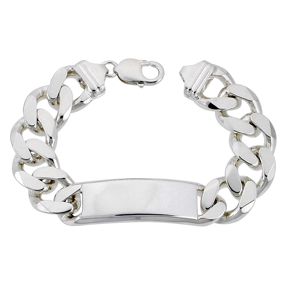 Sterling Silver ID Bracelet Curb Link Very Heavy 5/8 inch wide Nickel Free Italy, 8 inch