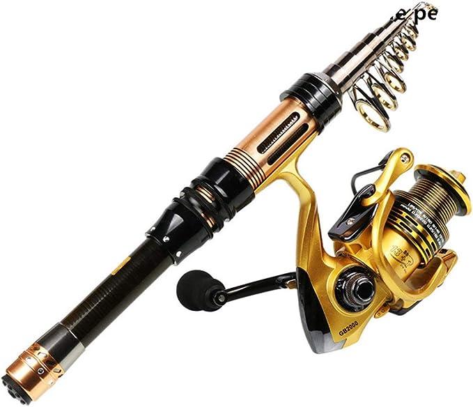 Caña Pesca telescópica Spinning Carrete Pesca Combo 1.3-2.4M ...
