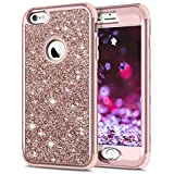 SAMONPOW iPhone 6s Plus Case iPhone 6 Plus Bling Case Bling Glitter Sparkle Hard PC with Soft Rubber Inner 3 in 1 Full-Body Protective Shockproof iPhone 6s Plus Cover for iPhone 6/6s Plus - Rose Gold
