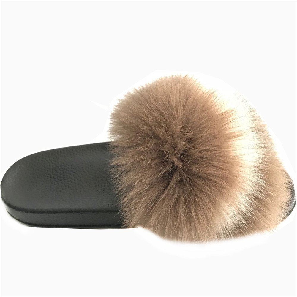6.5 New Style Woman Lady Genuine Real Fox Fur Slipper Slider Indoor Outdoor Flat Sandals Flip Flops Casual Shoes