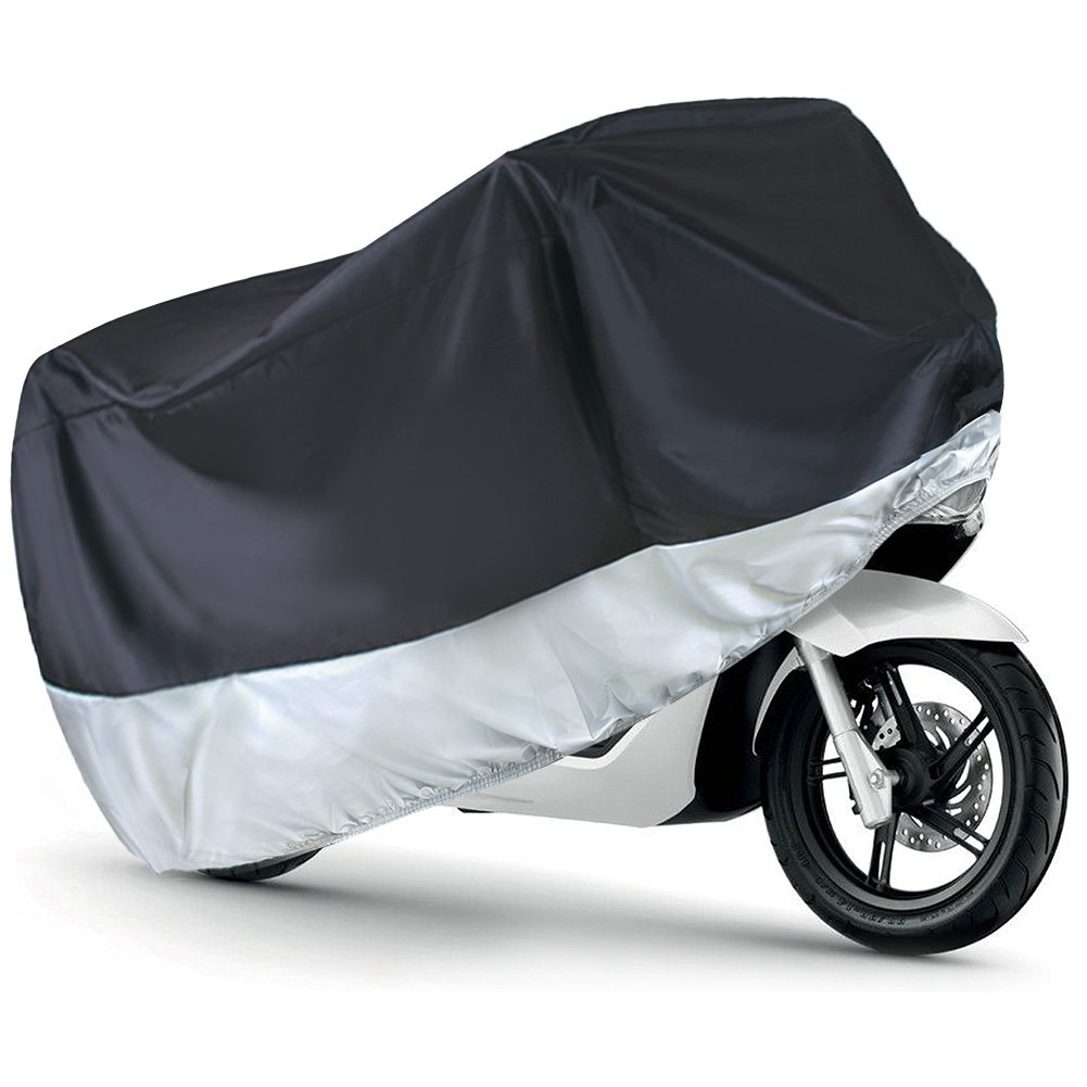 LotFancy Motorcycle Cover, Fits up to 96-Inch Motors, Dirt Bike and Road Bike, All Weather Protection, Black